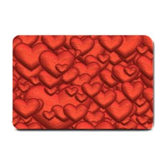 Shimmering Hearts Deep Red Small Doormat  by MoreColorsinLife