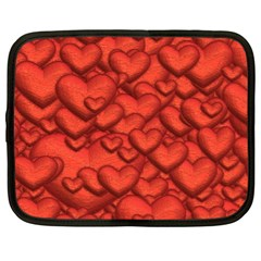 Shimmering Hearts Deep Red Netbook Case (xl)  by MoreColorsinLife