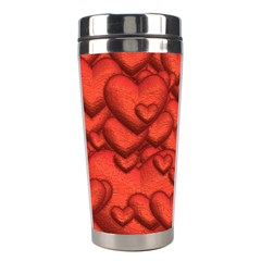 Shimmering Hearts Deep Red Stainless Steel Travel Tumblers by MoreColorsinLife