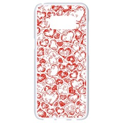 Vivid Hearts, Red Samsung Galaxy S8 White Seamless Case by MoreColorsinLife