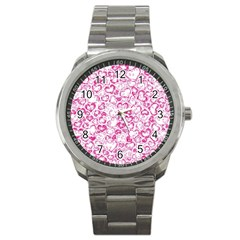 Vivid Hearts, Pink Sport Metal Watch by MoreColorsinLife