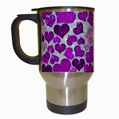 Sparkling Hearts Purple Travel Mugs (white) by MoreColorsinLife