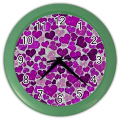 Sparkling Hearts Purple Color Wall Clocks by MoreColorsinLife