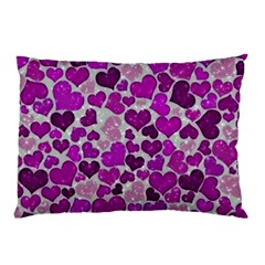 Sparkling Hearts Purple Pillow Case by MoreColorsinLife