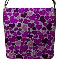 Sparkling Hearts Purple Flap Messenger Bag (s) by MoreColorsinLife