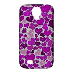 Sparkling Hearts Purple Samsung Galaxy S4 Classic Hardshell Case (pc+silicone) by MoreColorsinLife