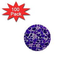 Sparkling Hearts Blue 1  Mini Magnets (100 Pack)  by MoreColorsinLife