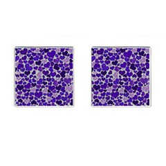 Sparkling Hearts Blue Cufflinks (square) by MoreColorsinLife