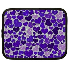Sparkling Hearts Blue Netbook Case (xxl)  by MoreColorsinLife