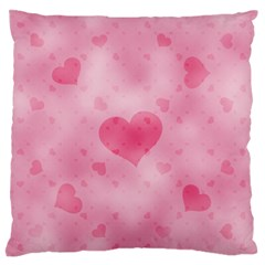 Soft Hearts A Large Flano Cushion Case (one Side) by MoreColorsinLife