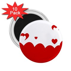 Heart Shape Background Love 2 25  Magnets (10 Pack)  by Nexatart