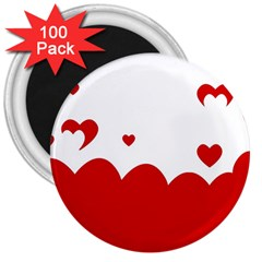 Heart Shape Background Love 3  Magnets (100 Pack) by Nexatart