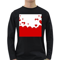 Heart Shape Background Love Long Sleeve Dark T Shirts