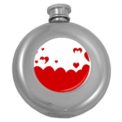 Heart Shape Background Love Round Hip Flask (5 Oz) by Nexatart