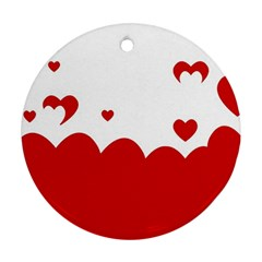 Heart Shape Background Love Round Ornament (two Sides)