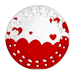 Heart Shape Background Love Ornament (round Filigree)