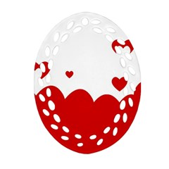 Heart Shape Background Love Oval Filigree Ornament (two Sides) by Nexatart