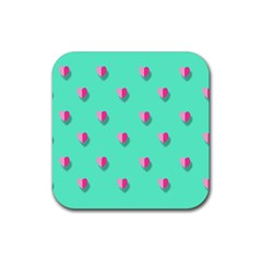 Love Heart Set Seamless Pattern Rubber Coaster (square)  by Nexatart