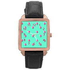 Love Heart Set Seamless Pattern Rose Gold Leather Watch