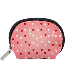 Heart Shape Background Love Accessory Pouches (small)