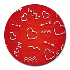 Background Valentine S Day Love Round Mousepads by Nexatart