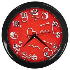 Background Valentine S Day Love Wall Clocks (black) by Nexatart