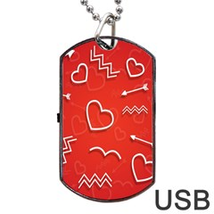 Background Valentine S Day Love Dog Tag Usb Flash (one Side)