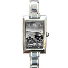 Omaha Airfield Airplain Hangar Rectangle Italian Charm Watch