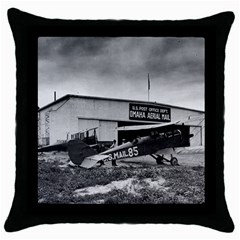 Omaha Airfield Airplain Hangar Throw Pillow Case (black) by Nexatart