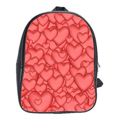 Background Hearts Love School Bag (large) by Nexatart