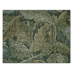 Vintage Background Green Leaves Rectangular Jigsaw Puzzl by Nexatart