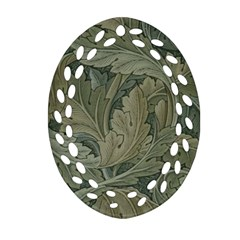 Vintage Background Green Leaves Oval Filigree Ornament (two Sides)