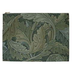 Vintage Background Green Leaves Cosmetic Bag (xxl)  by Nexatart