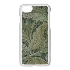 Vintage Background Green Leaves Apple Iphone 8 Seamless Case (white)