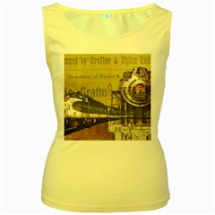 Train Vintage Tracks Travel Old Women s Yellow Tank Top by Nexatart