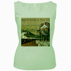 Train Vintage Tracks Travel Old Women s Green Tank Top by Nexatart