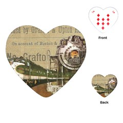 Train Vintage Tracks Travel Old Playing Cards (heart)  by Nexatart