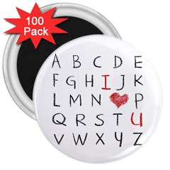 Love Alphabet 3  Magnets (100 Pack) by Valentinaart