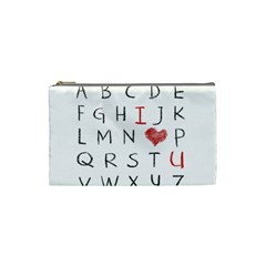 Love Alphabet Cosmetic Bag (small)  by Valentinaart