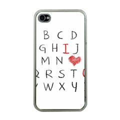 Love Alphabet Apple Iphone 4 Case (clear) by Valentinaart