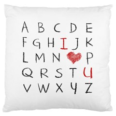 Love Alphabet Large Cushion Case (one Side) by Valentinaart
