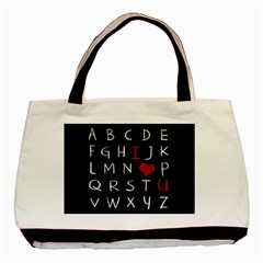 Love Alphabet Basic Tote Bag (two Sides) by Valentinaart