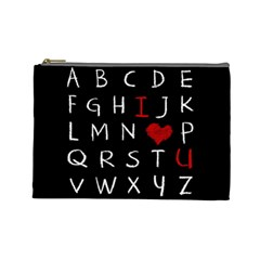 Love Alphabet Cosmetic Bag (large)  by Valentinaart