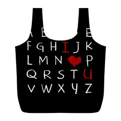 Love Alphabet Full Print Recycle Bags (l)  by Valentinaart