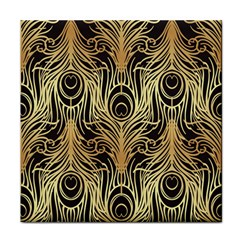 Gold, Black,peacock Pattern,art Nouveau,vintage,belle Epoque,chic,elegant,peacock Feather,beautiful Tile Coasters by 8fugoso