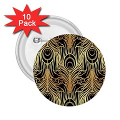 Gold, Black,peacock Pattern,art Nouveau,vintage,belle Epoque,chic,elegant,peacock Feather,beautiful 2 25  Buttons (10 Pack)  by 8fugoso