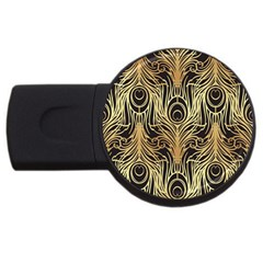 Gold, Black,peacock Pattern,art Nouveau,vintage,belle Epoque,chic,elegant,peacock Feather,beautiful Usb Flash Drive Round (2 Gb) by 8fugoso