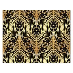 Gold, Black,peacock Pattern,art Nouveau,vintage,belle Epoque,chic,elegant,peacock Feather,beautiful Rectangular Jigsaw Puzzl by 8fugoso