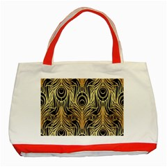 Gold, Black,peacock Pattern,art Nouveau,vintage,belle Epoque,chic,elegant,peacock Feather,beautiful Classic Tote Bag (red) by 8fugoso