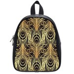 gold, black,peacock pattern,art nouveau,vintage,belle epoque,chic,elegant,peacock feather,beautiful School Bag (Small) Front